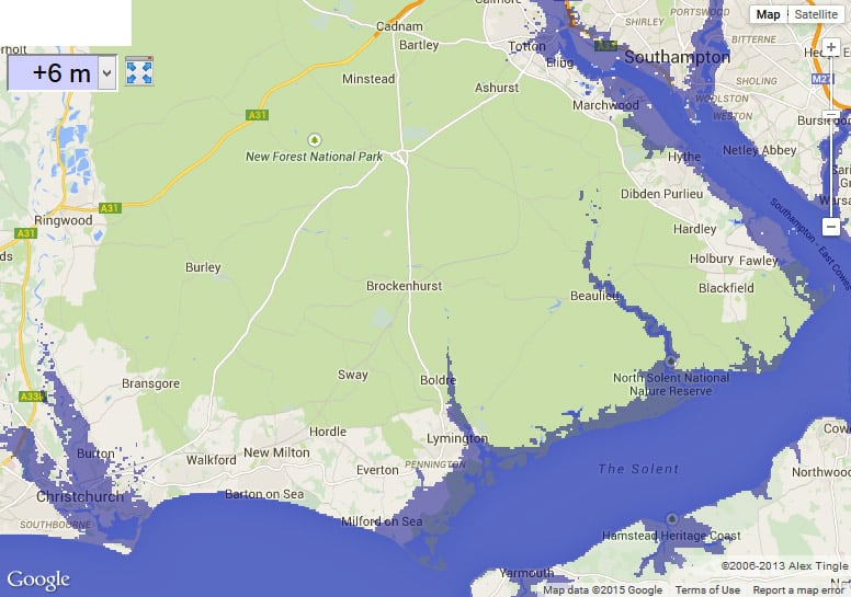 Map of New Forest with 6 meter sea level rise