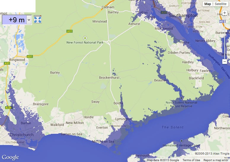 Map of New Forest with 9 meter sea level rise
