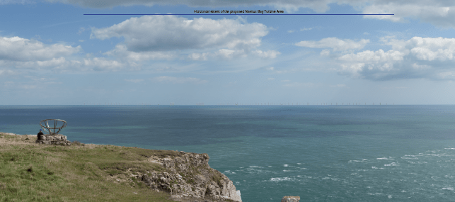 Visualisation of Navitus Bay Wind Farm viewed from St Aldhelms Head