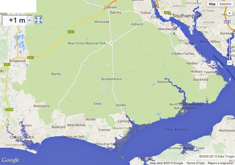 Map of New Forest with 1 meter sea level rise