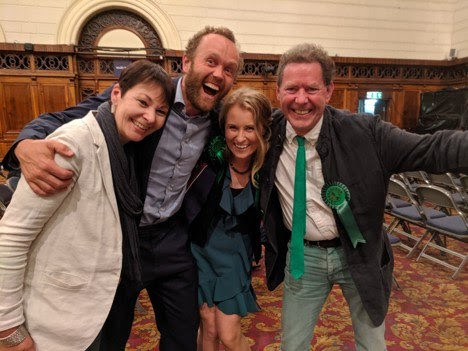 Caroline Lucas, Tom, Alex Phillips and Rob after the result!