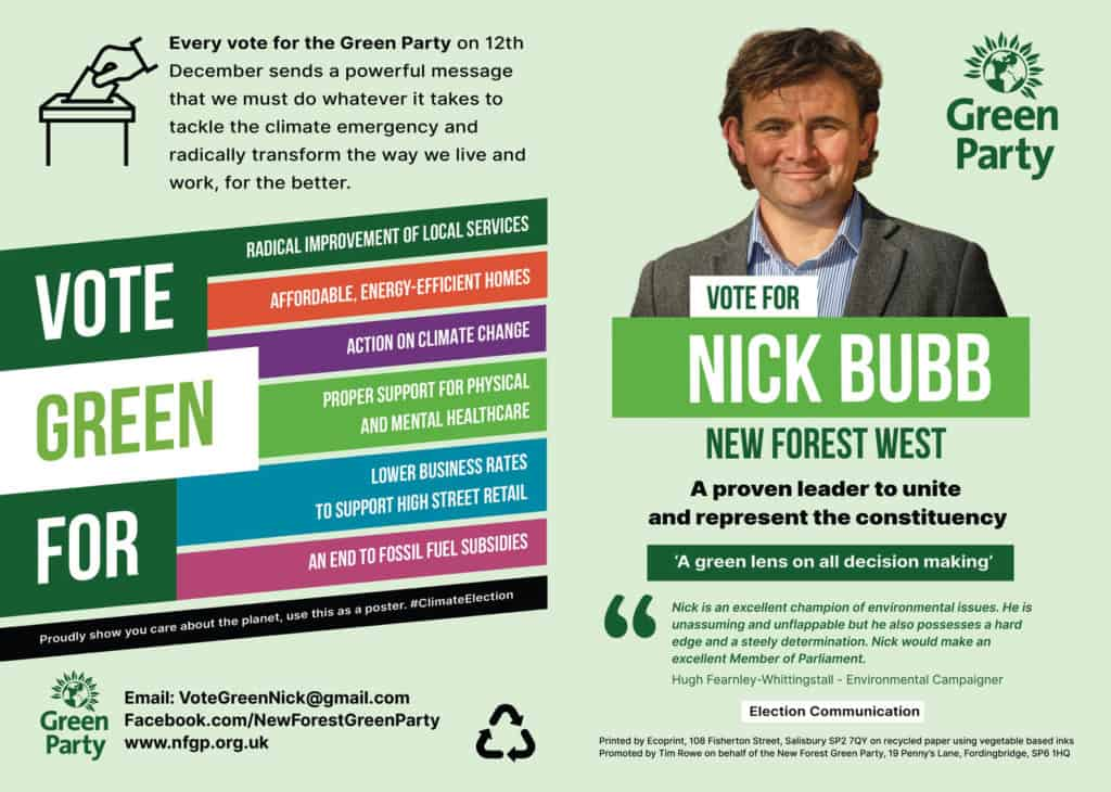Nick Bubb poster for your window